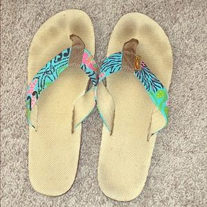 Hand painted Rainbow sandals in Lilly Pulitzer